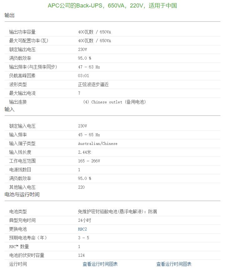 APC UPS电源 BK650-CH 参数