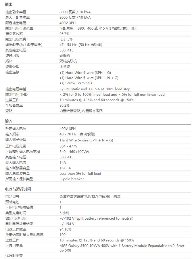 APC UPS电源 G35T10KH1B2S参数